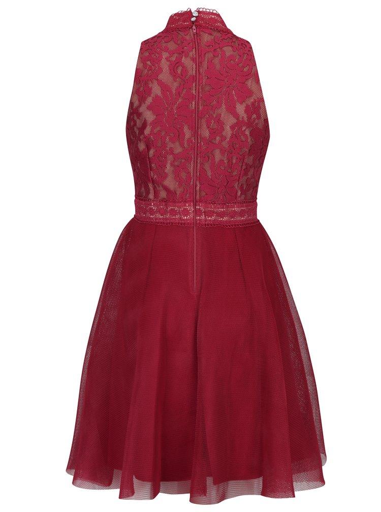 Vínové šaty s krajkovým topem a síťovanou sukní Little Mistress