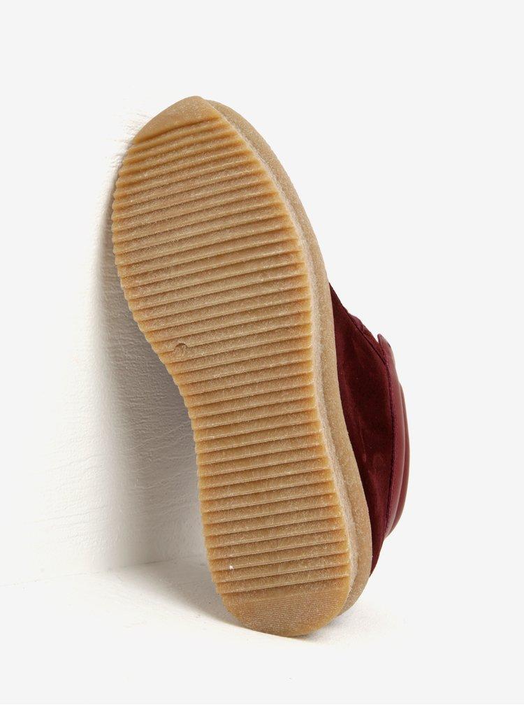 Vínové semišové kotníkové tenisky na platformě OJJU