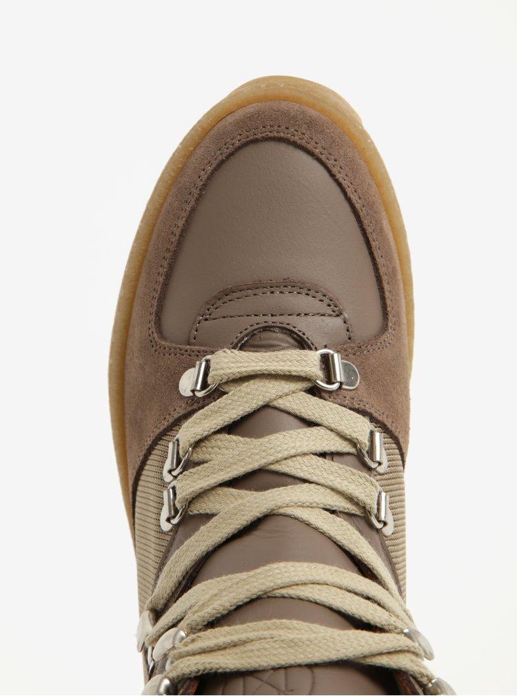 Světle hnědé kotníkové boty na platformě se semišovými detaily OJJU