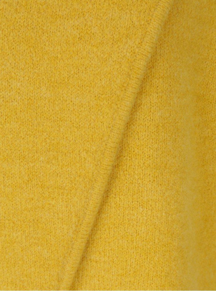 Hořčicový vlněný svetr s překládaným předním dílem Skunkfunk