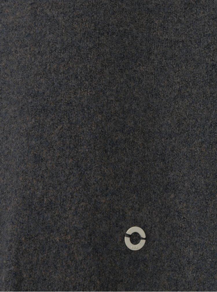 Tmavě šedý dlouhý vlněný kardigan se zavazováním u krku Skunkfunk