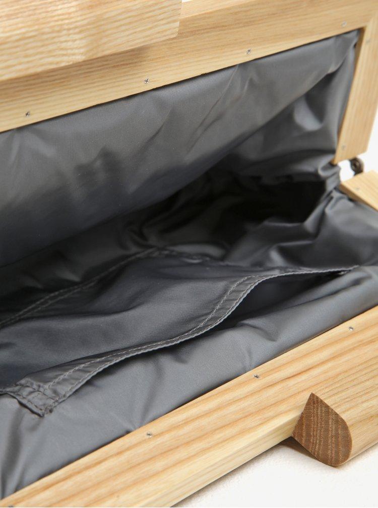 Geanta plic gri din piele cu rama bej din lemn Atribut