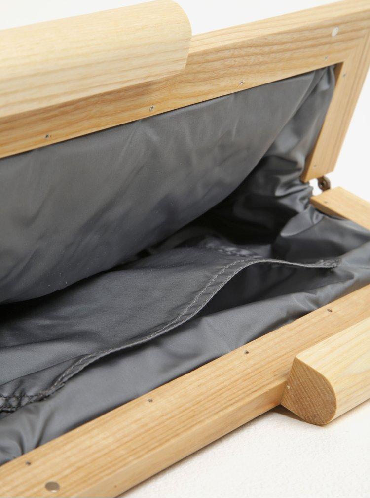 Geanta plic bej din piele cu rama bej din lemn Atribut