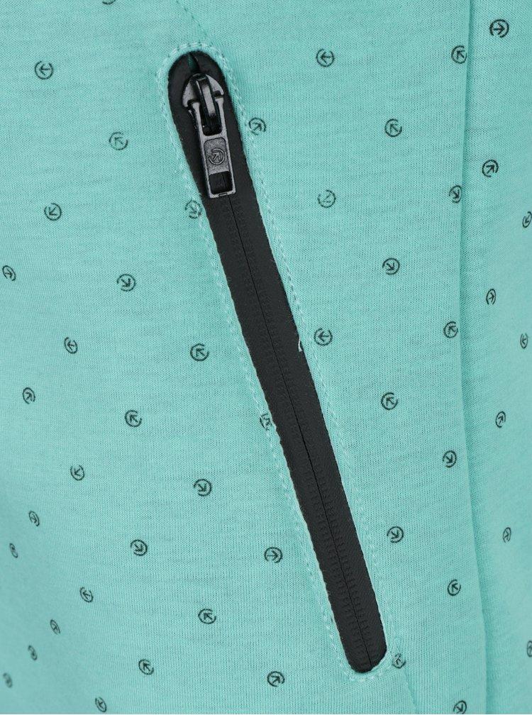 Hanorac verde&negru cu print logo si guler inalt pentru femei MEATFLY Omni