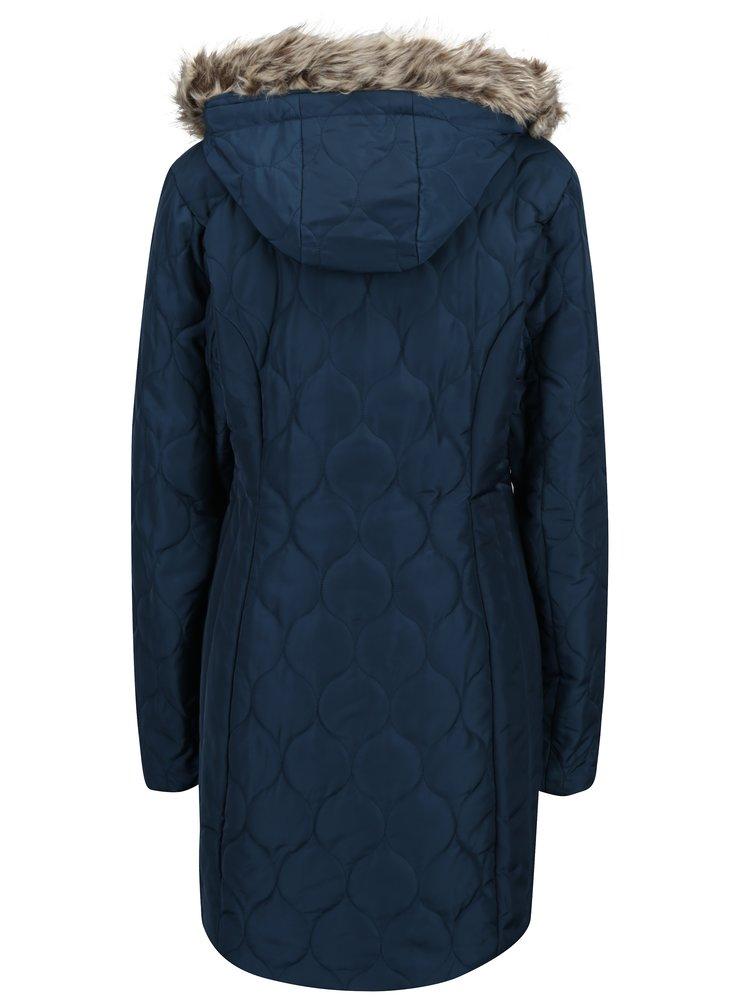 Geaca albastra de iarna cu gluga si blana artificiala pentru femei LOAP Tonka