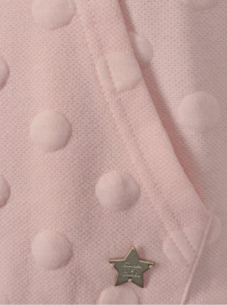 Světle růžová holčičí puntíkovaná mikina s kapsou 5.10.15.