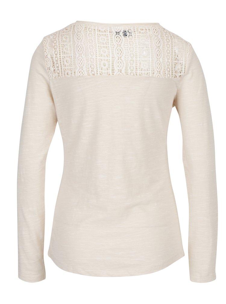 Krémové dámské tričko s krajkovým detailem na zádech M&Co