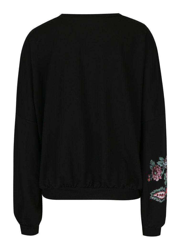 Černá volná mikina s květovaným potiskem TALLY WEiJL