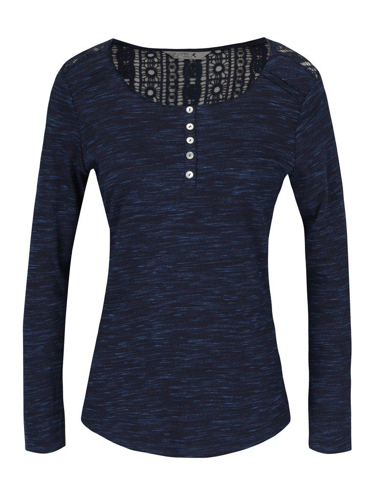 Tmavě modré dámské žíhané tričko s krajkovým detailem na zádech M&Co