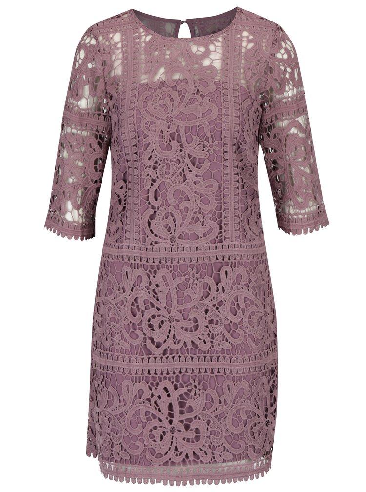 Fialové krajkové šaty s 3/4 rukávem Little Mistress