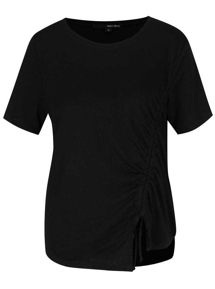 Černé asymetrické tričko se zavazováním TALLY WEiJL