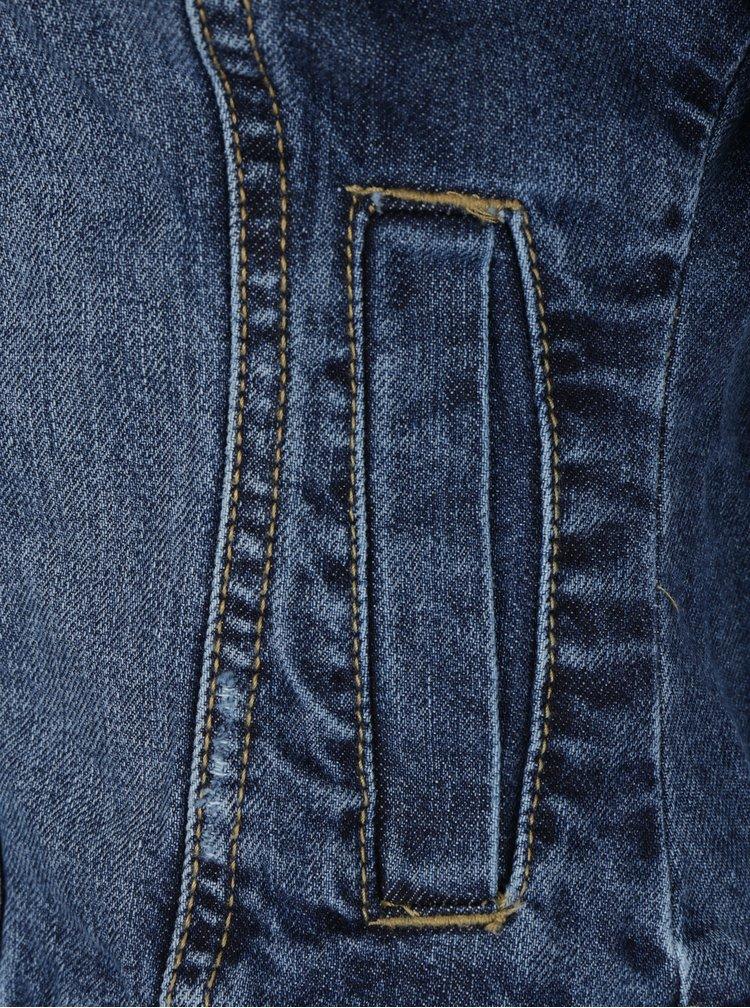 Modrá džínová bunda s mikinovými rukávy a kapucí TALLY WEiJL