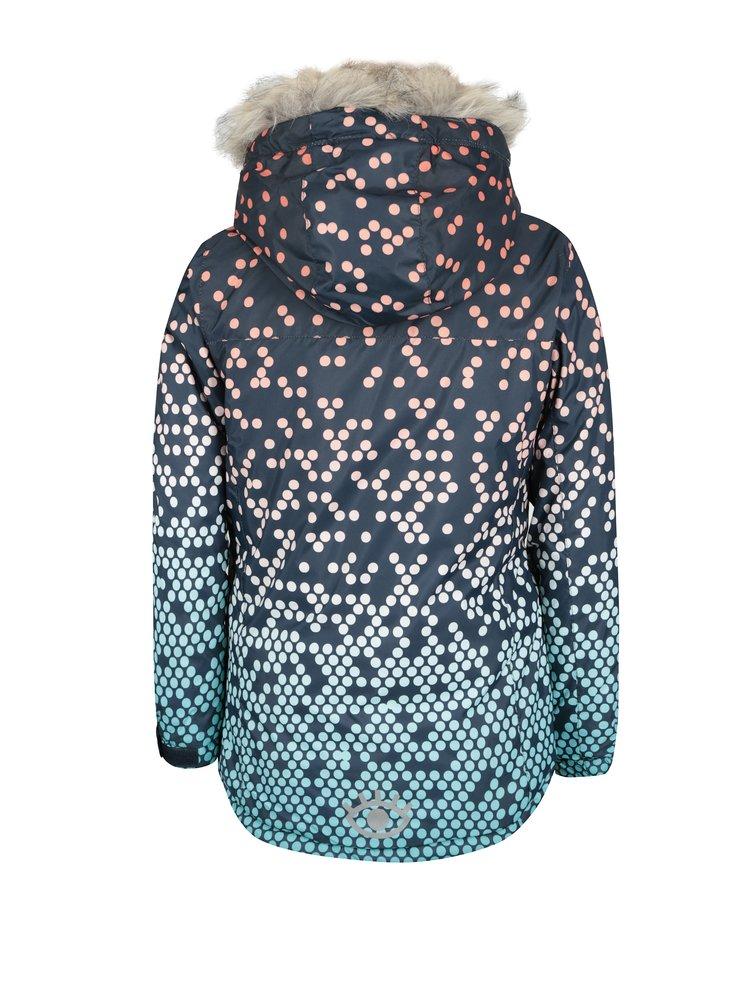 Tmavě modrá holčičí vzorovaná zimní bunda s umělým kožíškem 5.10.15.