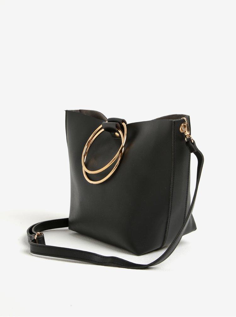 Černá crossbody kabelka se sponami ve zlaté barvě TALLY WEiJL