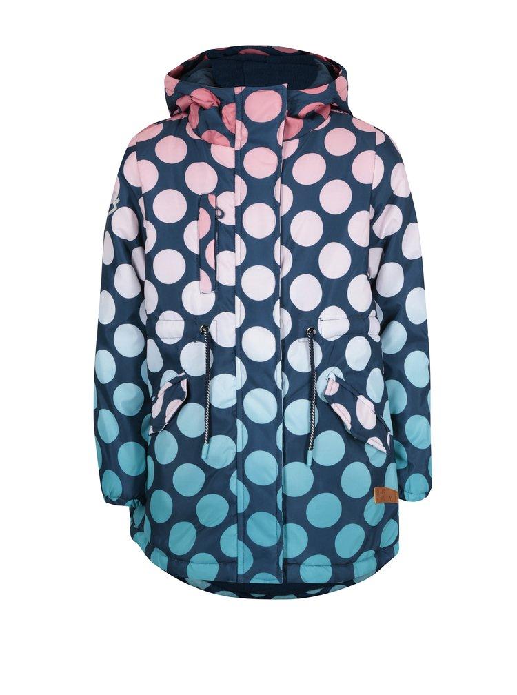Tmavě modrý holčičí puntíkovaný zimní kabát 5.10.15.