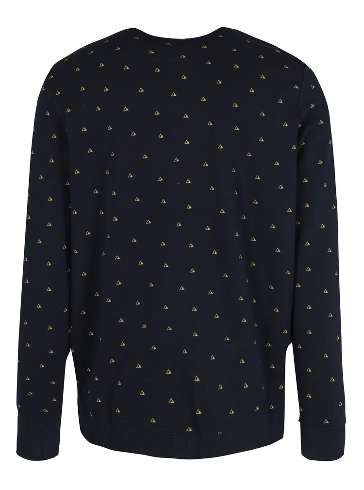 Bluza bleumarin&galben cu print geometric si broderie O'Neill