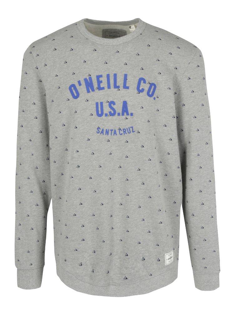 Bluza gri&mov cu print geometric si broderie O'Neill