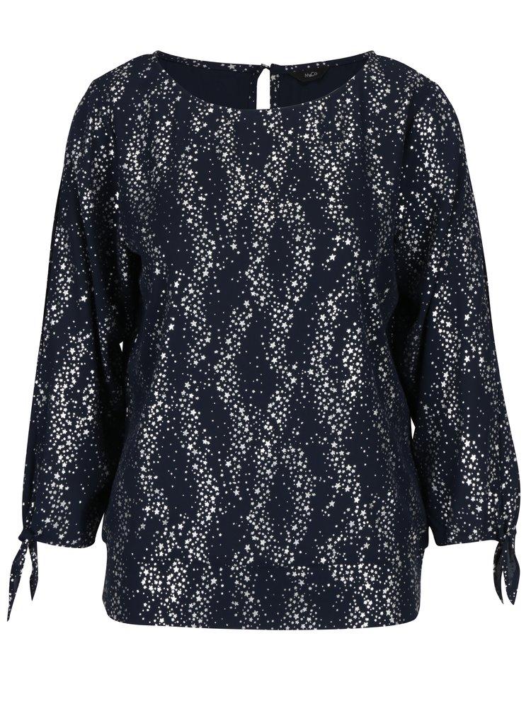 Tmavě modrá halenka s hvězdami ve stříbrné barvě M&Co