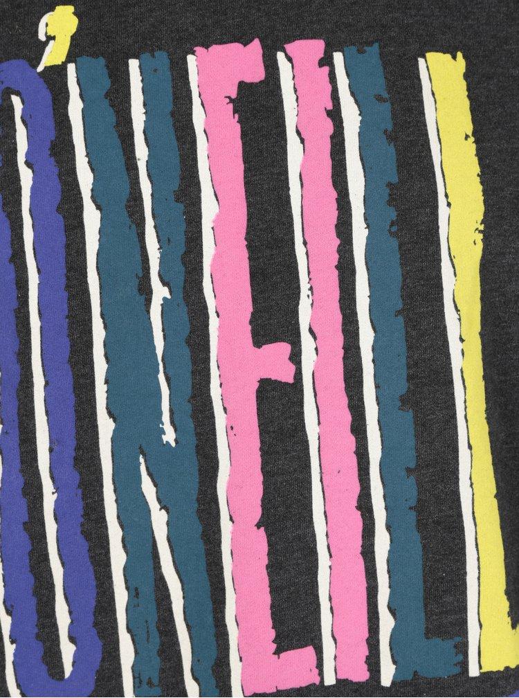 Bluza gri inchis melanj cu print logo multicolor O'Neill