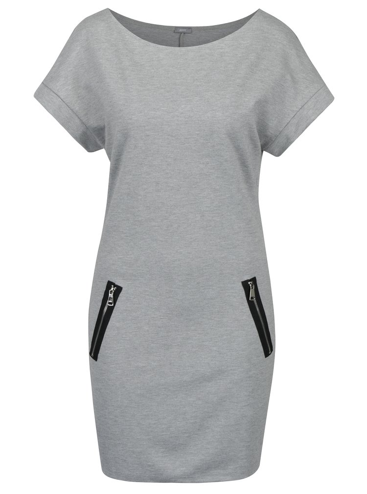 Světle šedé žíhané šaty se zipy ZOOT
