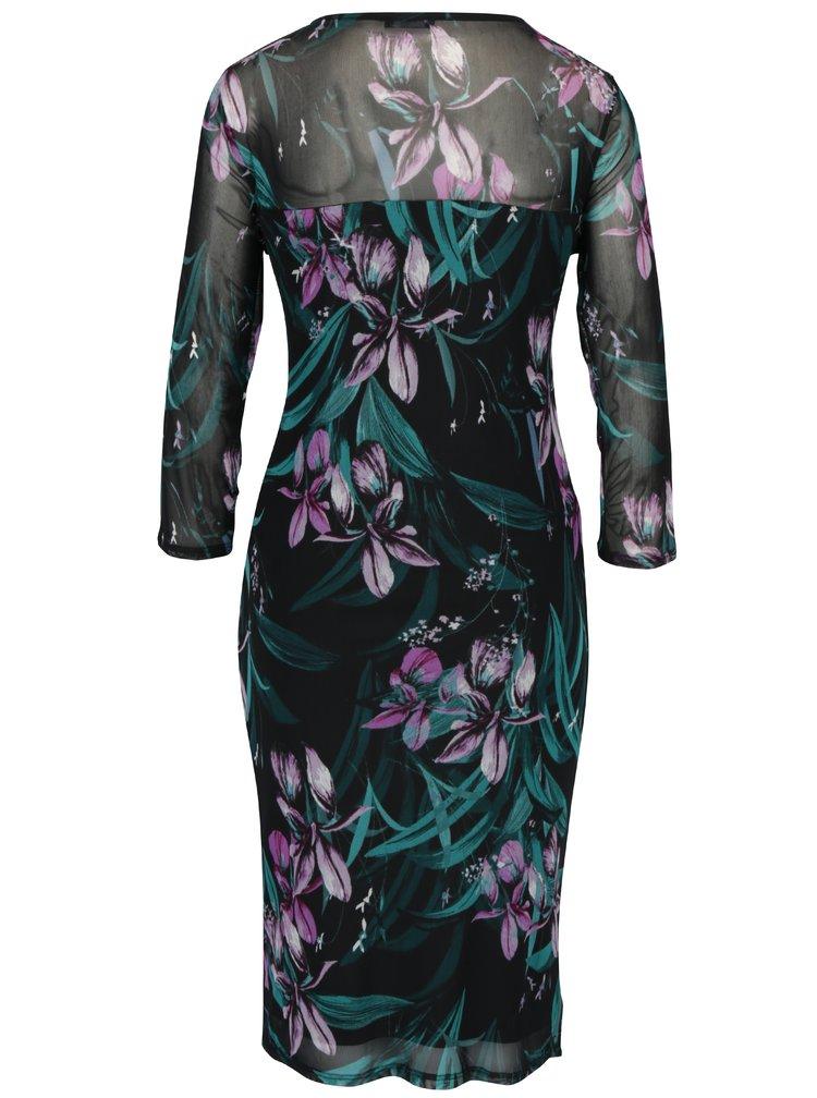 Rochie dreapta cu print floral multilcolor si fronseuri M&Co