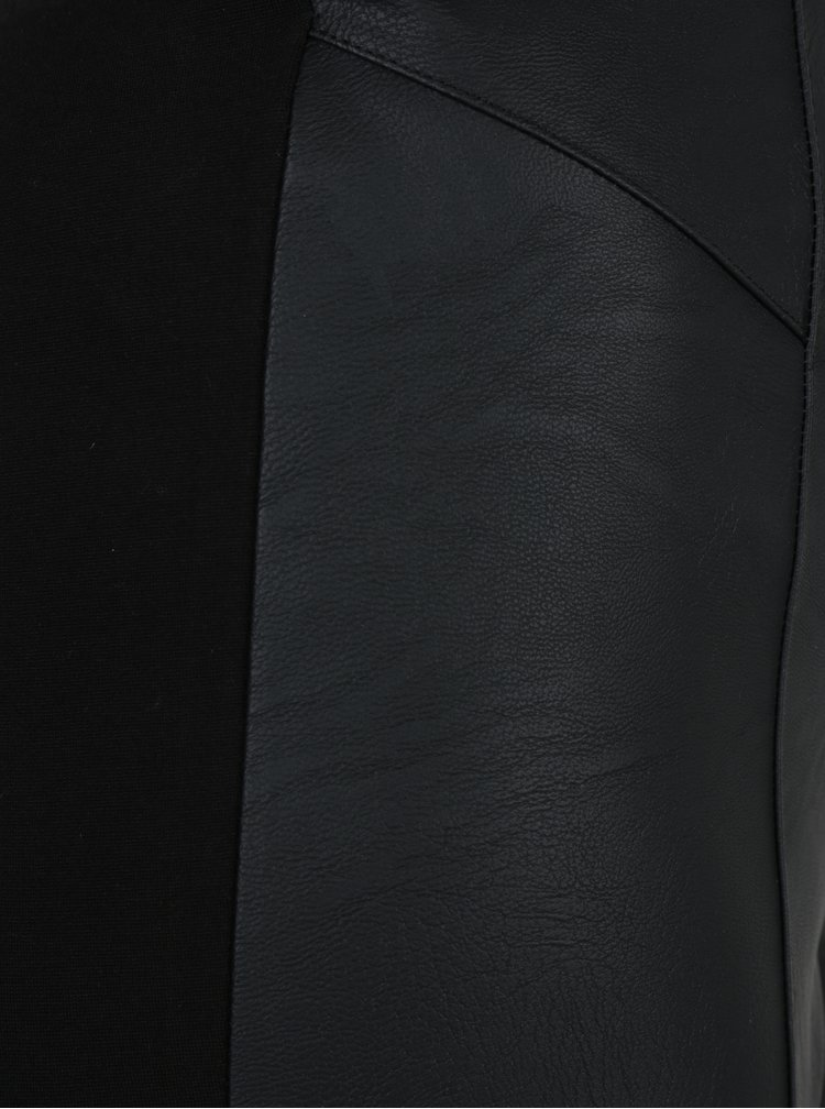 Černé dámské legíny s koženkovou přední částí M&Co