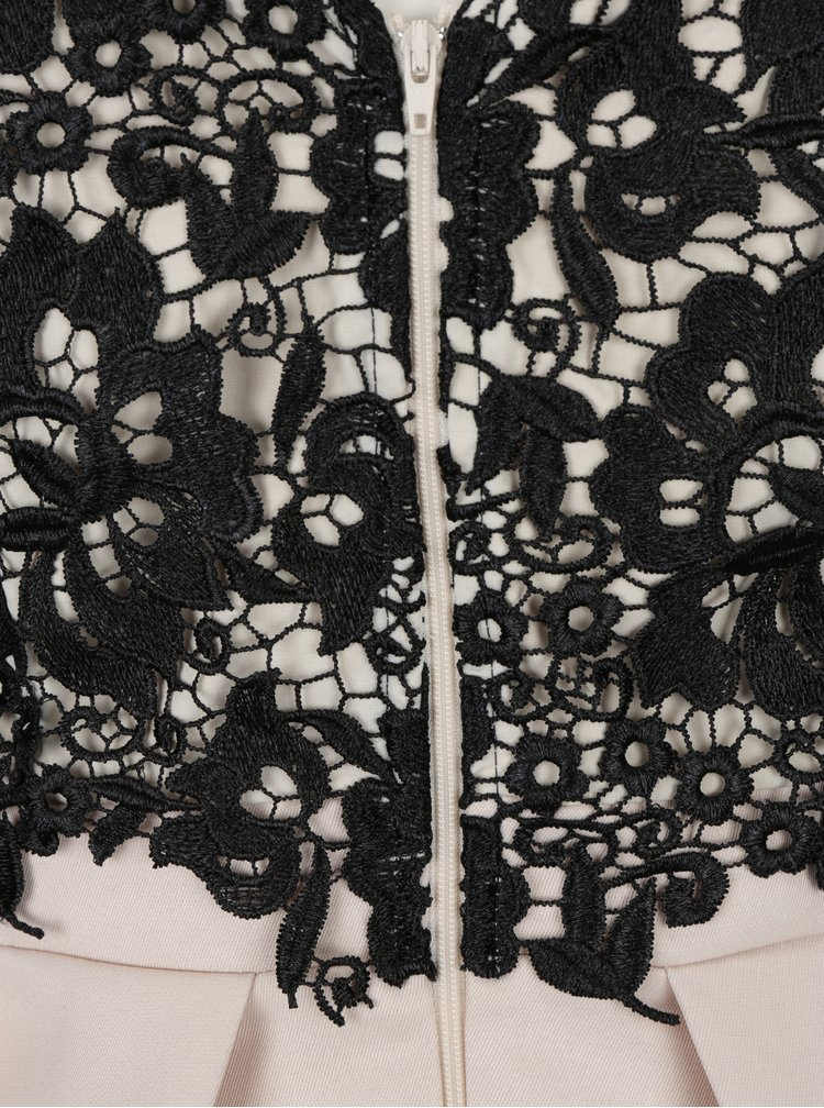 Béžovo-černé šaty s krajkovým topem Little Mistress