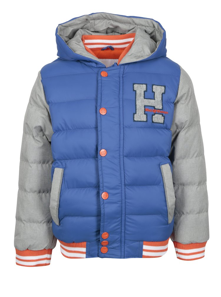 Šedo-modrá klučičí prošívaná zimní bunda s kapucí 5.10.15.