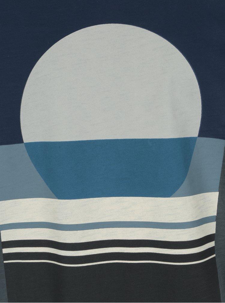 Tricou slim fit gri melanj cu print geometric  O'Neill