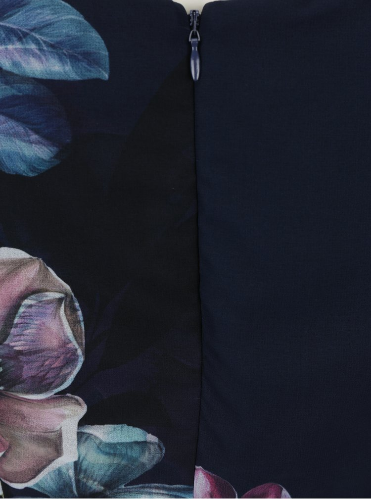 Tmavě modré květované šaty s odhalenými rameny Little Mistress