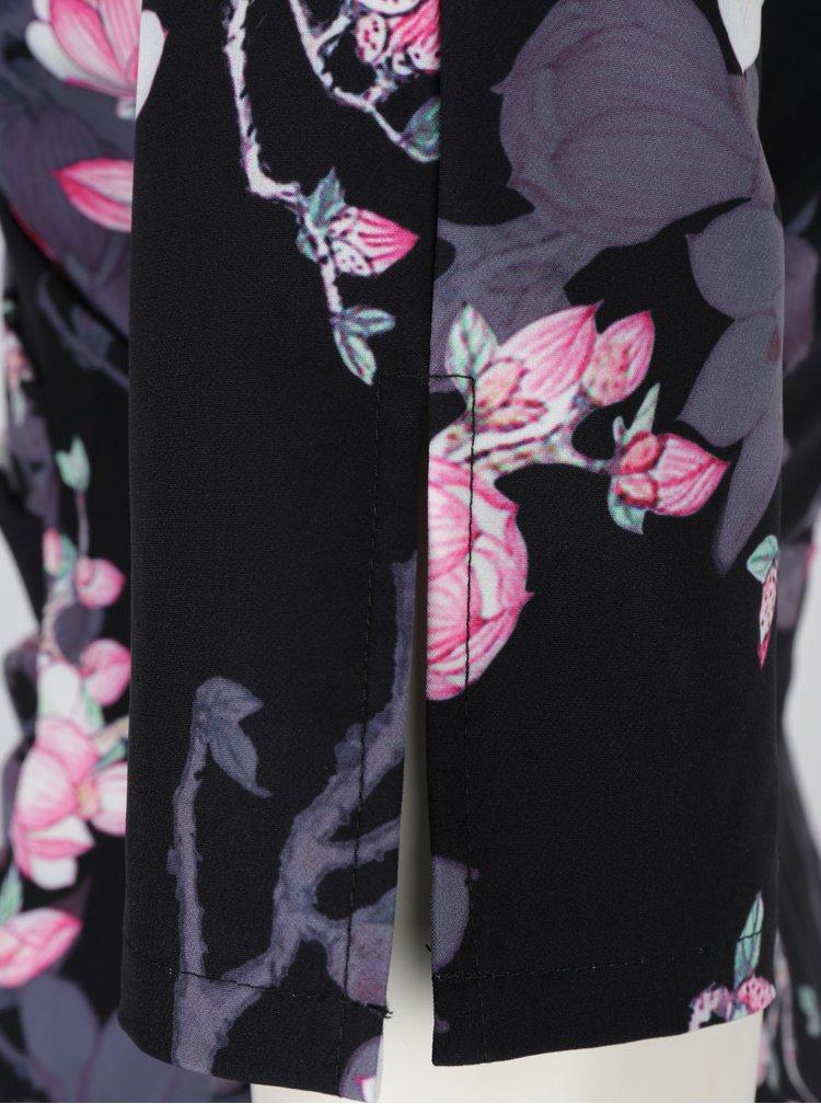 Rochie neagra cu print floral si decolteu suprapus Paper Dolls