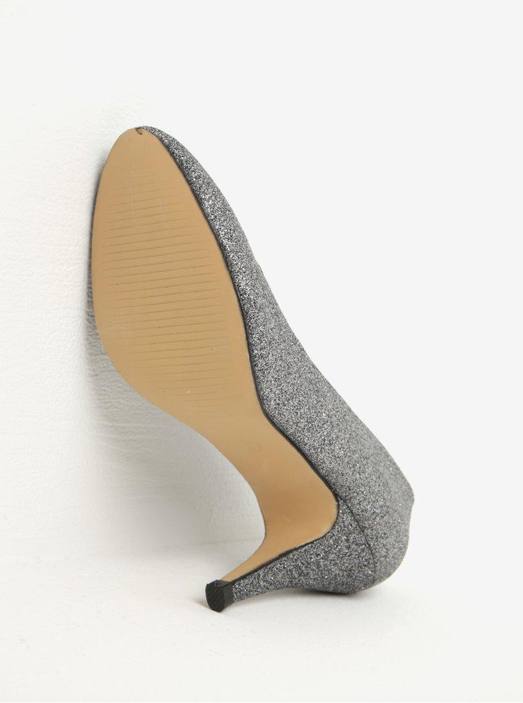 Třpytivé lodičky na podpatku ve stříbrné barvě Dorothy Perkins