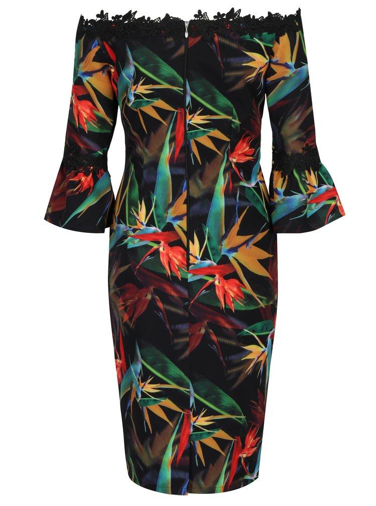 Černé květované pouzdrové šaty s odhalenými rameny Paper Dolls