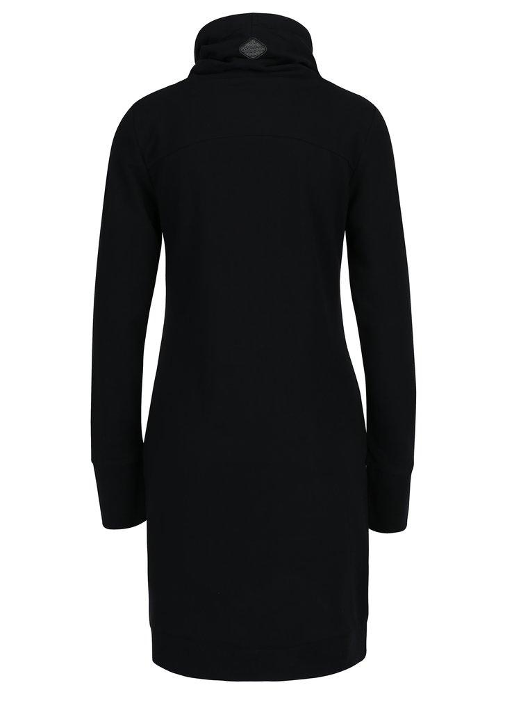 Rochie neagra cu guler inalt si print floral pe interior Ragwear Dita