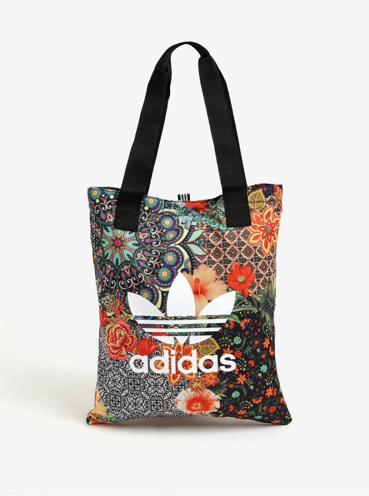 Geanta shopper neagra cu print floral ornamental si logo  adidas Originals