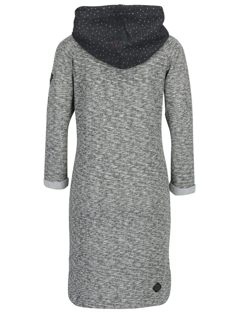 Rochie pulover gri melanj cu gluga si print buline Ragwear Bess
