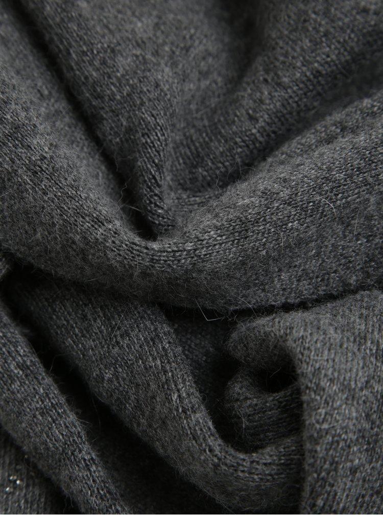 Set gri fular plus caciula cu adaos de lana - KARA