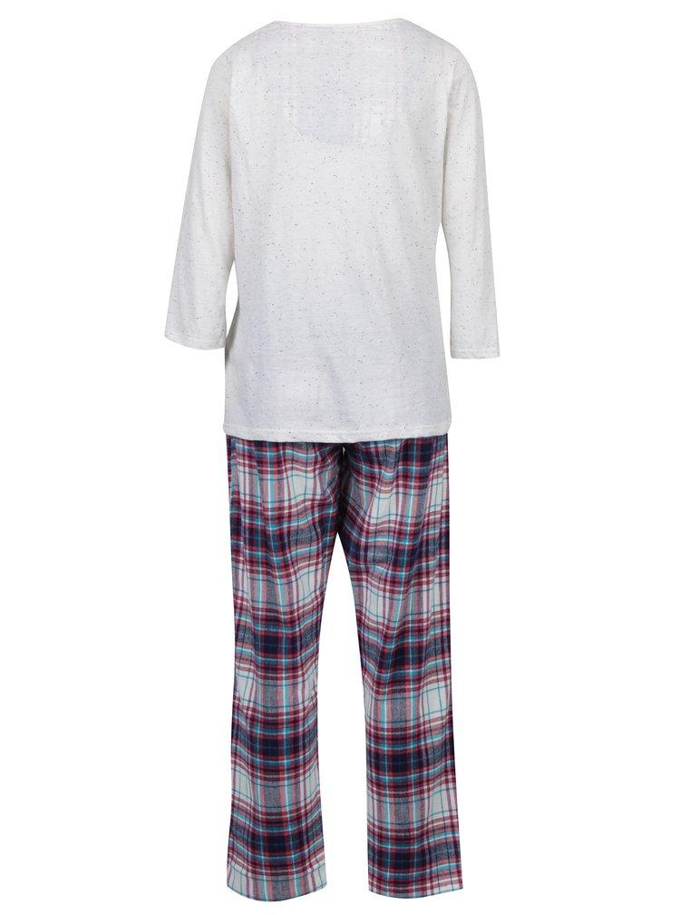 Set pijama crem&albastru in carouri  Dorothy Perkins