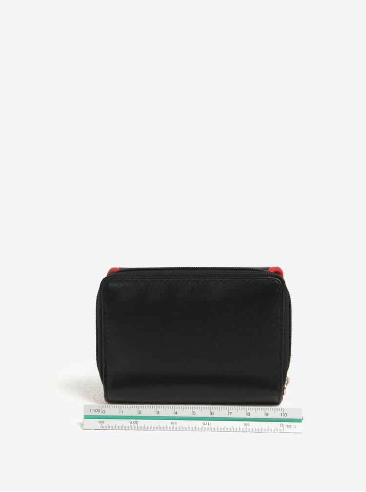 Černá dámská kožená peněženka s červeným lemem KARA