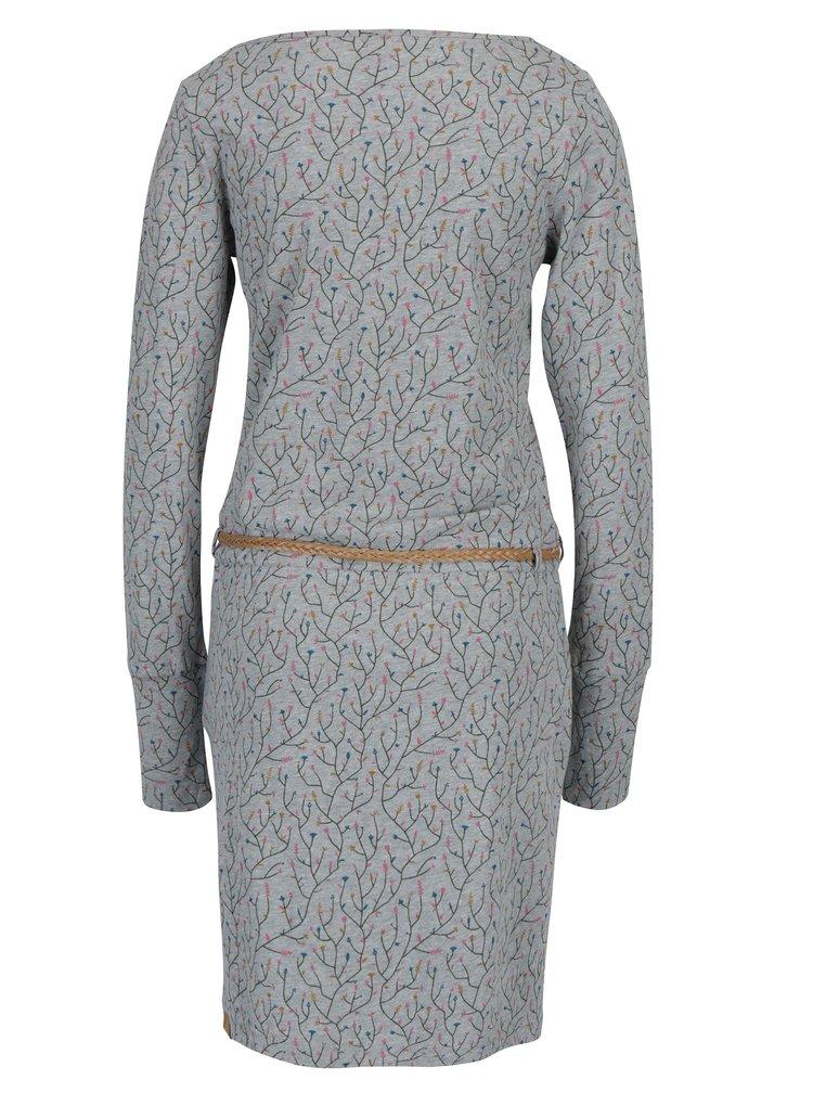 Šedé vzorované šaty s páskem Ragwear Montana