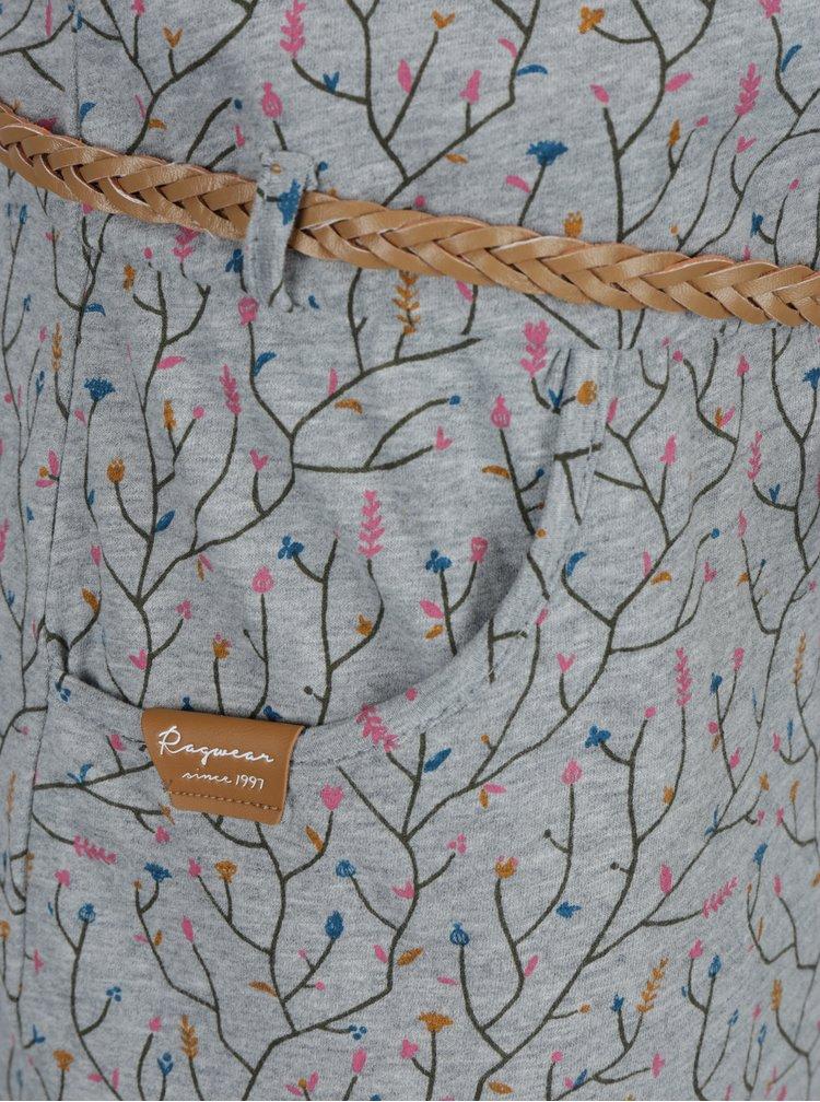 Rochie gri cu print floral si curea in talie Ragwear Montana