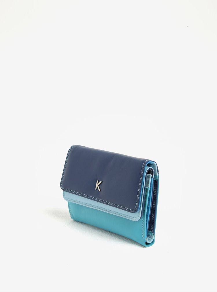 Portofel albastru din piele naturala pentru femei - KARA