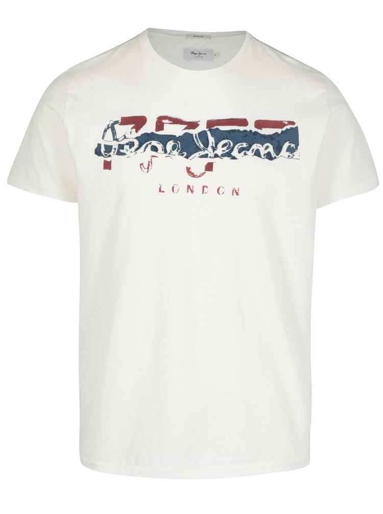 Tricou crem cu print logo rosu&albastru  Pepe Jeans MAIDEN
