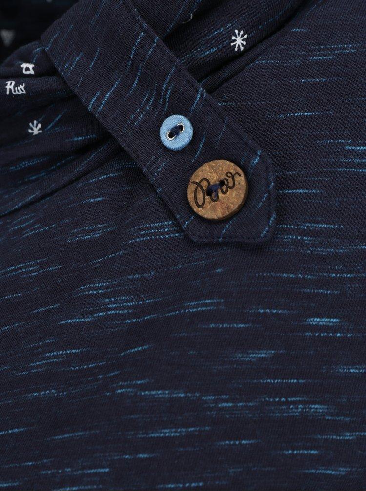 Tmavě modré dámské žíhané tričko s vysokým límcem Ragwear Highway