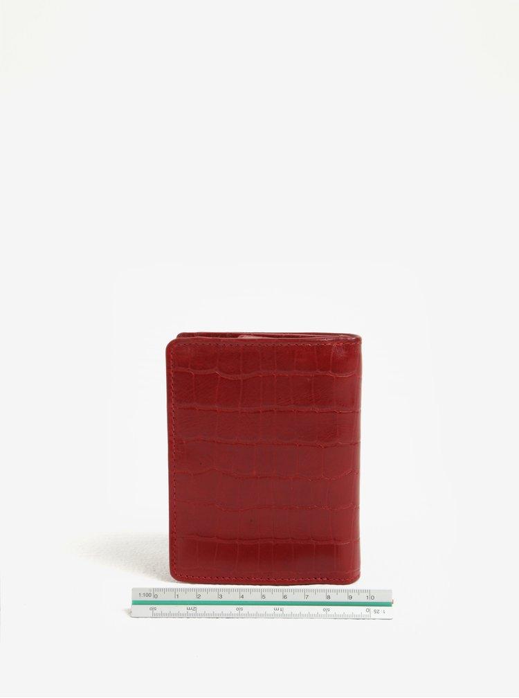Červená dámská kožená vzorovaná peněženka KARA