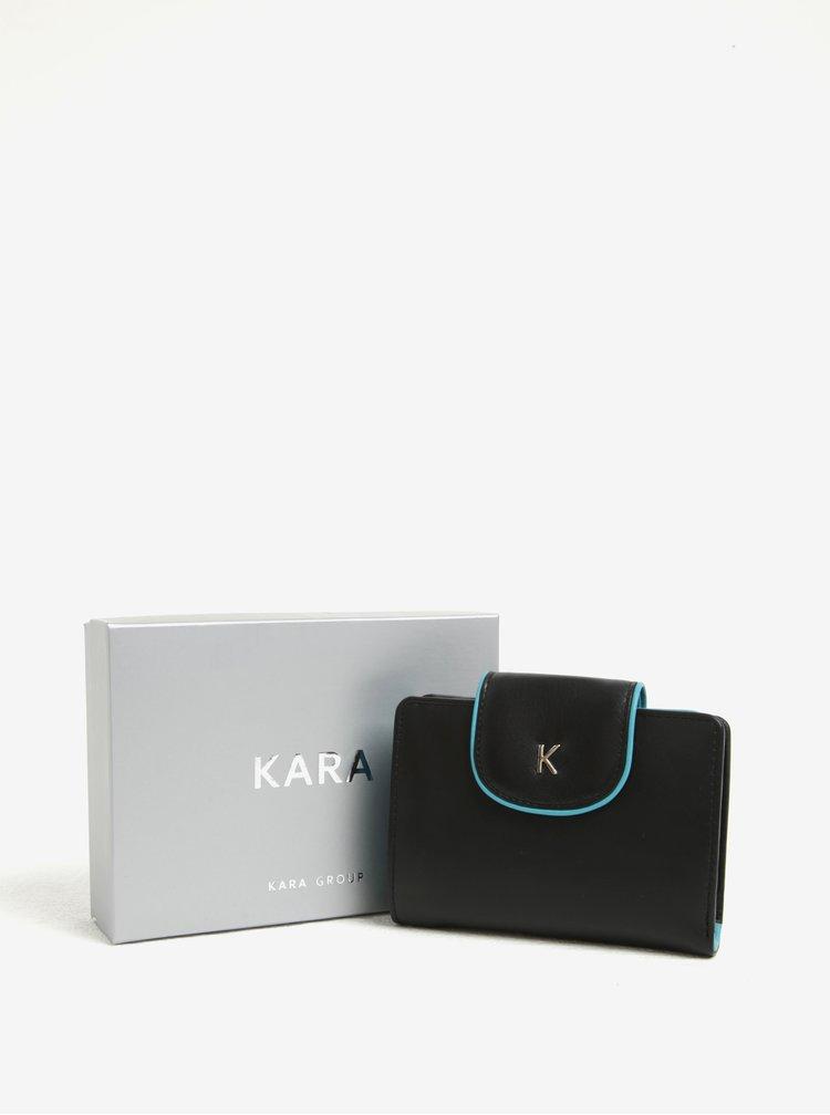 Černá dámská kožená peněženka s modrým lemem KARA
