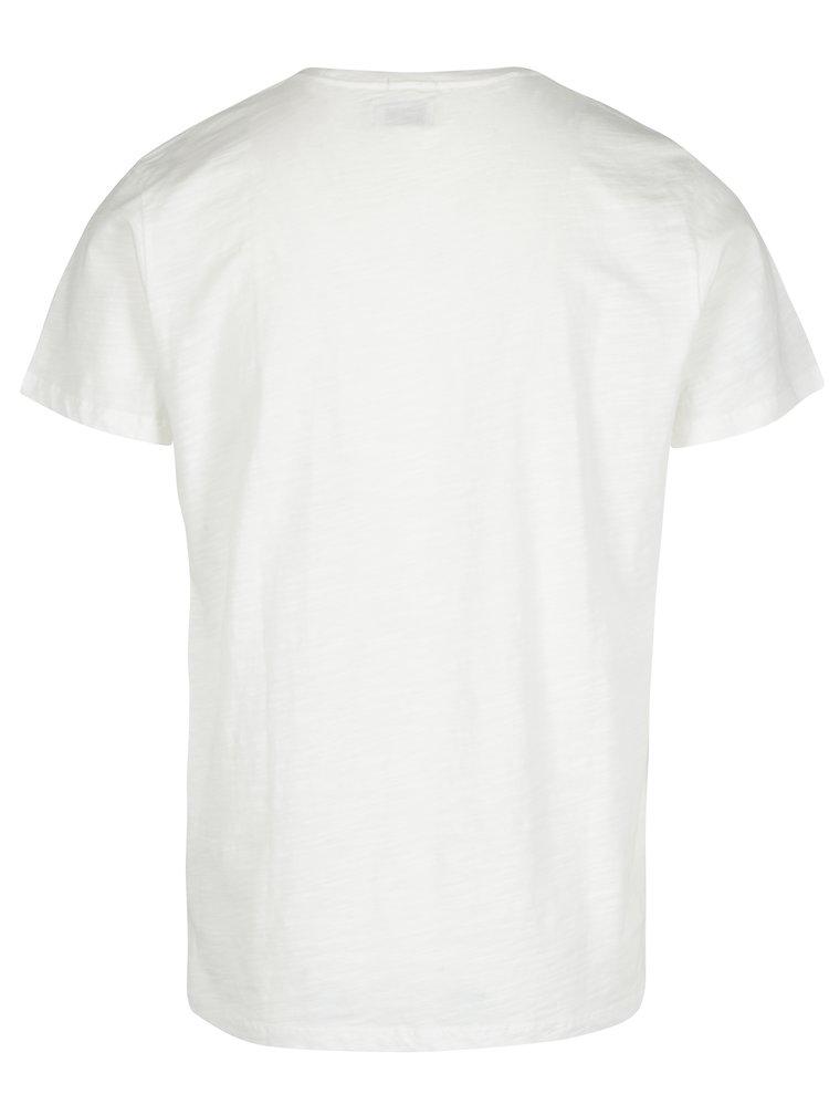 Tricou crem cu print logo Pepe Jeans FLAG TEE