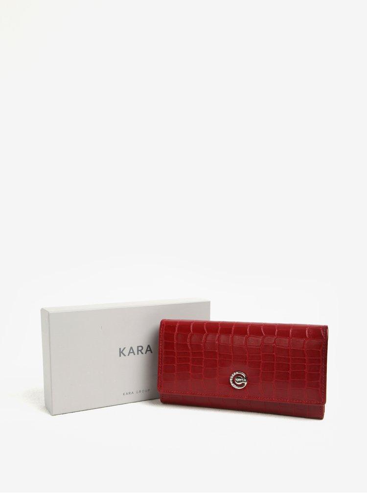Červená dámská vzorovaná kožená peněženka KARA