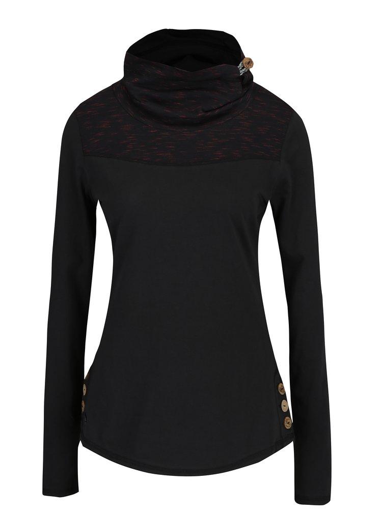 Černé dámské tričko s vysokým límcem a knoflíky Ragwear Willow