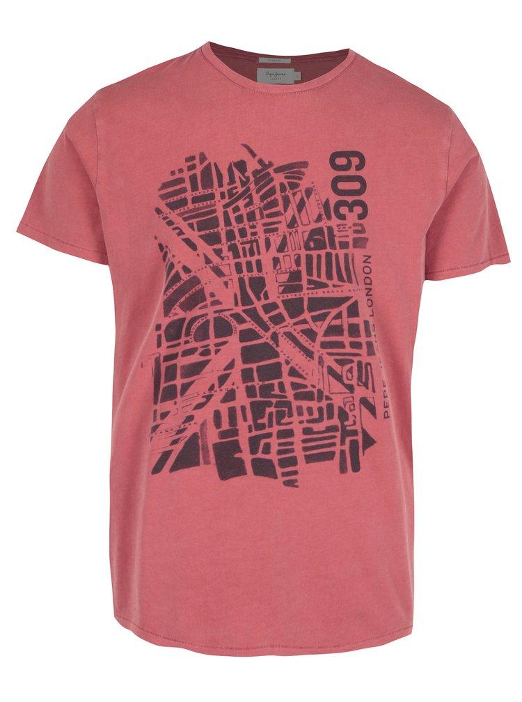Tricou rosu cu print harta Londra - Pepe Jeans GANTON